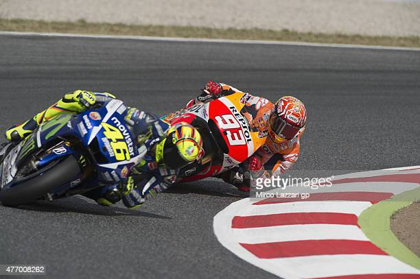 Marc Marquez of Spain and Repsol Honda Team rounds the bend during the MotoGp of Catalunya Qualifying at Circuit de Catalunya on June 13 2015 in...