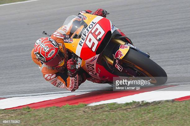 Marc Marquez of Spain and Repsol Honda Team rounds the bend during the MotoGP race during the MotoGP Of Malaysia at Sepang Circuit on October 25 2015...