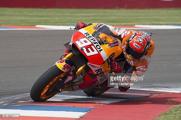 Marc Marquez of Spain and Repsol Honda Team rounds the bend during the MotoGp of Argentina Qualifying at Termas De Rio Hondo Circuit on April 02 2016...