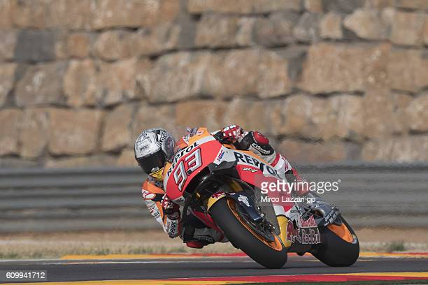Marc Marquez of Spain and Repsol Honda Team rounds the bend during the MotoGP of Spain Free Practice at Motorland Aragon Circuit on September 22 2016...