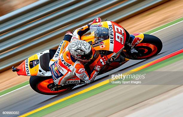 Marc Marquez of Spain and Repsol Honda Team rounds the bend during the MotoGP of Spain - Free Practice at Motorland Aragon Circuit on September 23,...