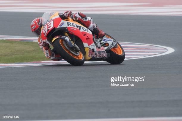Marc Marquez of Spain and Repsol Honda Team rounds the bend during the MotoGp of Argentina Qualifying on April 8 2017 in Rio Hondo Argentina