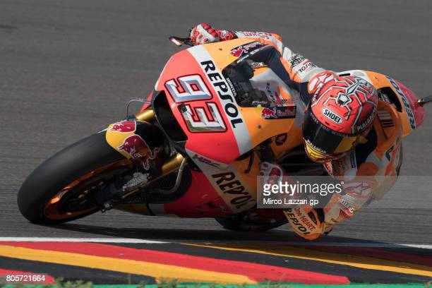 Marc Marquez of Spain and Repsol Honda Team rounds the bend during the MotoGP race during the MotoGp of Germany Race at Sachsenring Circuit on July 2...