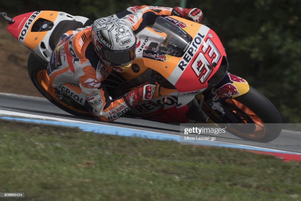 Marc Marquez of Spain and Repsol Honda Team rounds the bend during the MotoGp of Czech Republic - Qualifying at Brno Circuit on August 5, 2017 in Brno, Czech Republic.