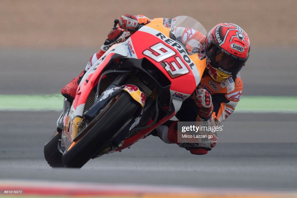 Marc Marquez of Spain and Repsol Honda Team rounds the bend during the MotoGP of Aragon - Free Practice at Motorland Aragon Circuit on September 22, 2017 in Alcaniz, Spain.