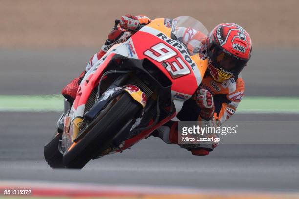 Marc Marquez of Spain and Repsol Honda Team rounds the bend during the MotoGP of Aragon Free Practice at Motorland Aragon Circuit on September 22...