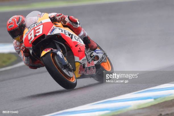 Marc Marquez of Spain and Repsol Honda Team rounds the bend during the MotoGP of Japan Free Practice at Twin Ring Motegi on October 13 2017 in Motegi...