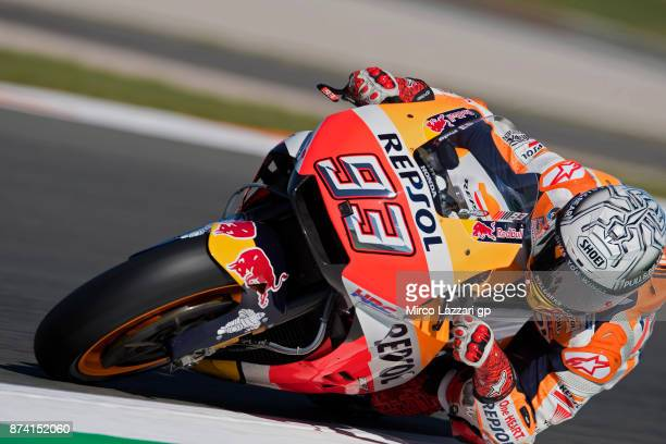 Marc Marquez of Spain and Repsol Honda Team rounds the bend during the MotoGP Tests In Valencia day 1 at Comunitat Valenciana Ricardo Tormo Circuit...