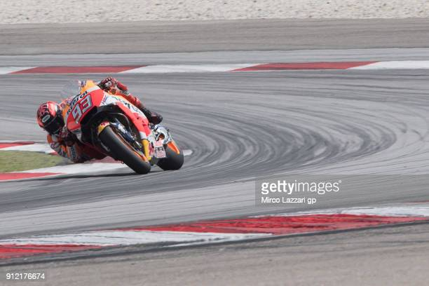 Marc Marquez of Spain and Repsol Honda Team rounds the bend during the MotoGP test in Sepang at Sepang Circuit on January 30 2018 in Kuala Lumpur...