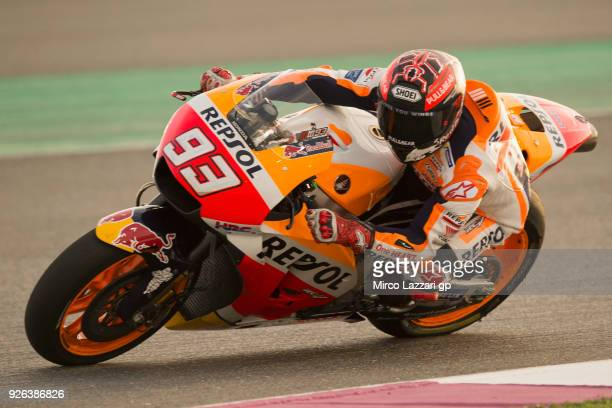 Marc Marquez of Spain and Repsol Honda Team rounds the bend during the Moto GP Testing Qatar at Losail Circuit on March 2 2018 in Doha Qatar