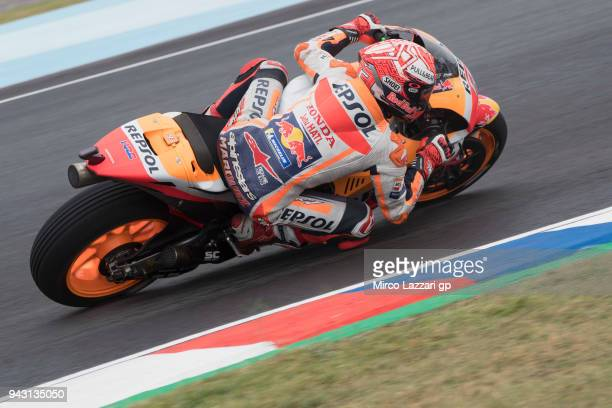 Marc Marquez of Spain and Repsol Honda Team rounds the bend during the qualifying practice during the MotoGp of Argentina Qualifying on April 7 2018...