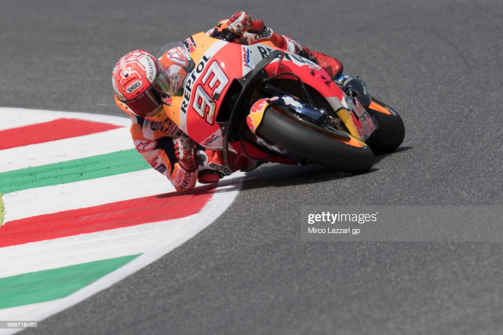 Marc Marquez of Spain and Repsol Honda Team rounds the bend during the qualifying practice during the MotoGp of Italy - Qualifying at Mugello Circuit on June 2, 2018 in Scarperia, Italy.