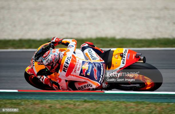Marc Marquez of Spain and Repsol Honda Team rounds the bend during free practice for the MotoGP of Catalunya at Circuit de Catalunya on June 15 2018...