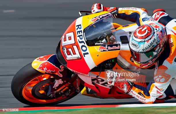 Marc Marquez of Spain and Repsol Honda Team rounds the bend during free practice for the MotoGP of Catalunya at Circuit de Catalunya on at Circuit de...