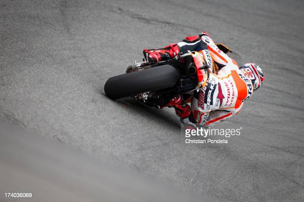 Marc Marquez of Spain and Repsol Honda Team rounds the corner at the MotoGP race of Red Bull US Grand Prix at Mazda Raceway Laguna Seca on July 19...