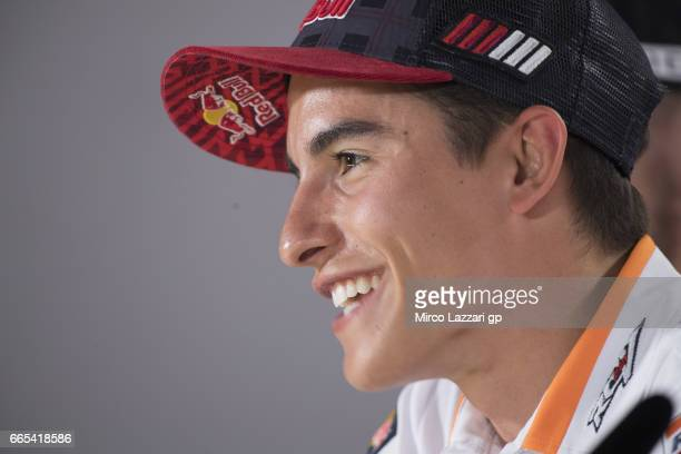 Marc Marquez of Spain and Repsol Honda Team smiles during the press conference preevent during the MotoGp of Argentina Previews on April 6 2017 in...