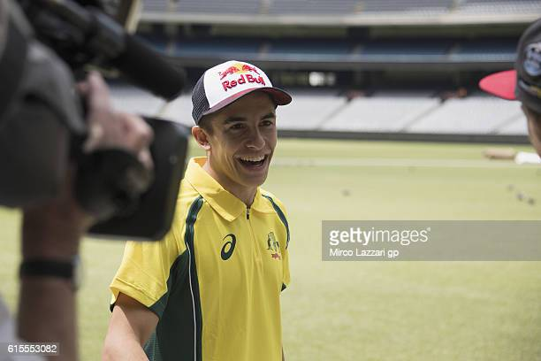 Marc Marquez of Spain and Repsol Honda Team smiles for television during the preevent in Melbourne Cricket Ground during the MotoGP of Australia...