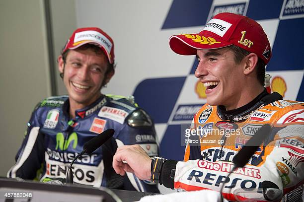Marc Marquez of Spain and Repsol Honda Team speaks during a press conference after winning the MotoGP Of Malaysia at Sepang Circuit on October 26,...