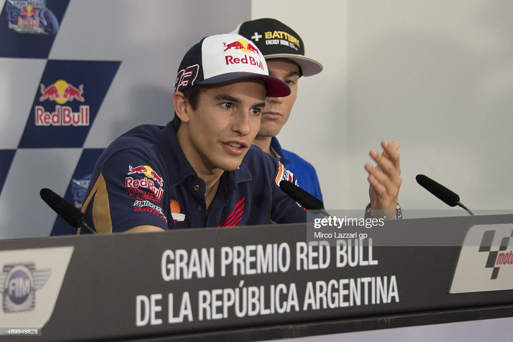 Marc Marquez of Spain and Repsol Honda Team speaks during a press conference during the MotoGp of Argentina Preview at on April 16, 2015 in Rio Hondo, Argentina.
