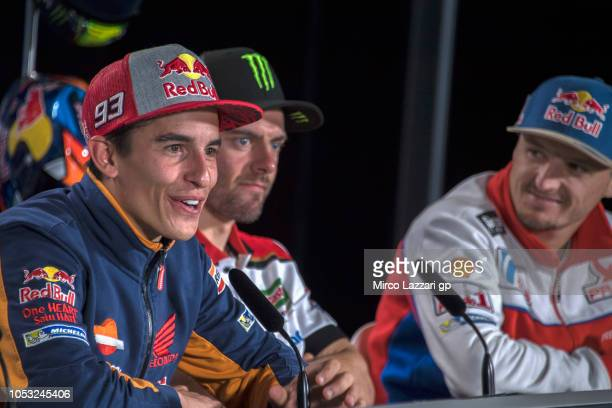 Marc Marquez of Spain and Repsol Honda Team speaks during the press conference during the MotoGP of Australia Previews during previews ahead of the...
