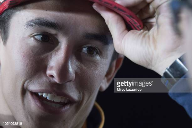 Marc Marquez of Spain and Repsol Honda Team speaks during the press conference at the end of the MotoGP qualifying during qualifying for the 2018...