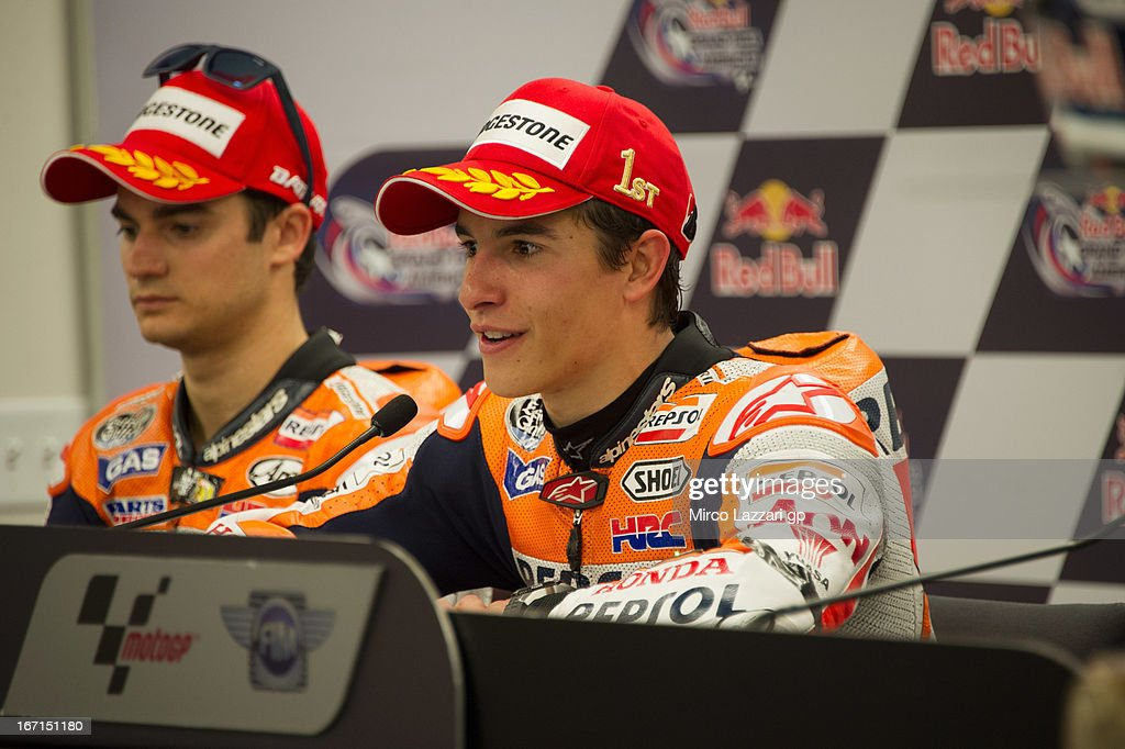 Marc Marquez of Spain and Repsol Honda Team speaks during the press conference after the MotoGP race during the MotoGp Red Bull U.S. Grand Prix of The Americas - Race at Circuit of The Americas on April 21, 2013 in Austin, Texas.