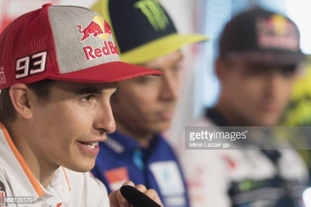 Marc Marquez of Spain and Repsol Honda Team speaks during the press conference at the end of the Qualifying practice during the MotoGP Netherlands...