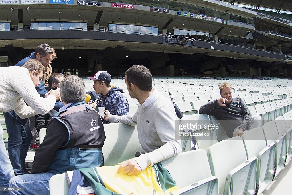 Marc Marquez of Spain and Repsol Honda Team speaks with spanish journalists during the pre-event in Melbourne Cricket Ground during the MotoGP of Australia - Pre-Event Activities on October 19, 2016 in Melbourne, Australia.
