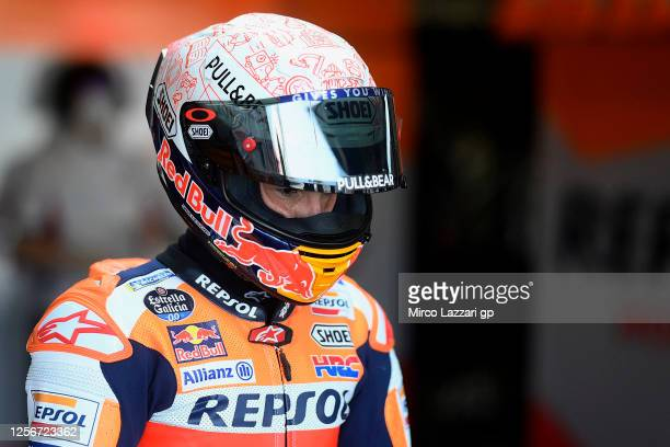 Marc Marquez of Spain and Repsol Honda Team starts from box during the MotoGP of Spain - Free Practice at Circuito de Jerez on July 17, 2020 in Jerez...