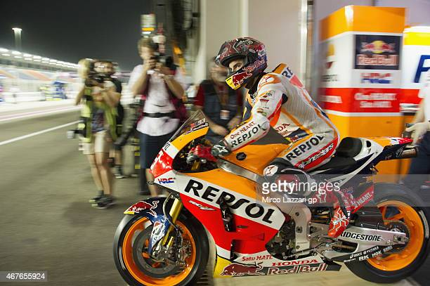 Marc Marquez of Spain and Repsol Honda Team starts from box during the MotoGp of Qatar Free Practice at Losail Circuit on March 26 2015 in Doha Qatar