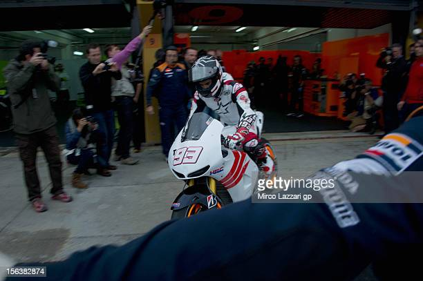Marc Marquez of Spain and Repsol Honda Team starts from box for the first time with the bike during the second day of pre season MotoGP testing at...