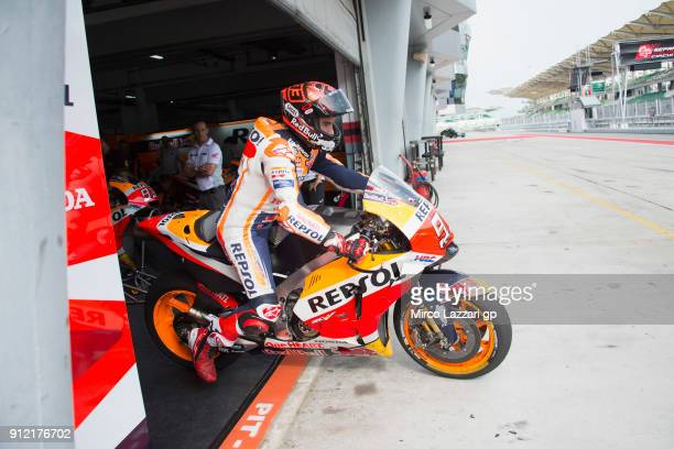 Marc Marquez of Spain and Repsol Honda Team starts from the pit during the MotoGP test in Sepang at Sepang Circuit on January 30 2018 in Kuala Lumpur...