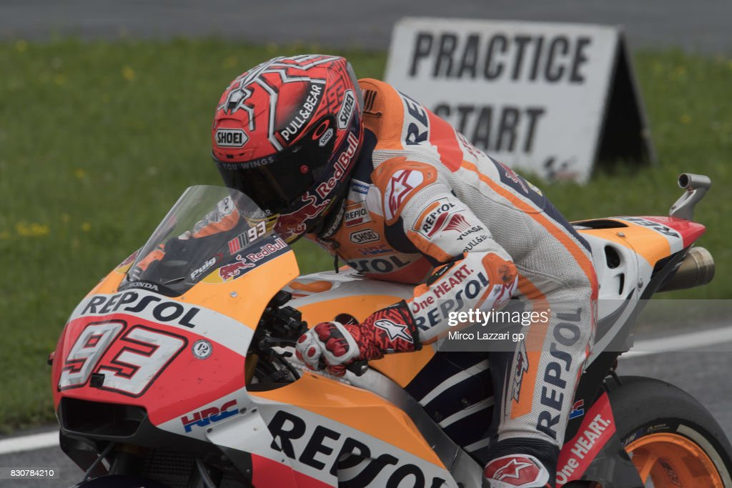 Marc Marquez of Spain and Repsol Honda Team tests the start during the MotoGp of Austria - Qualifying at Red Bull Ring on August 12, 2017 in Spielberg, Austria.