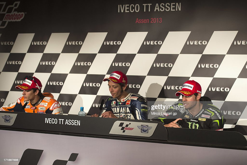 Marc Marquez of Spain and Repsol Honda Team, Valentino Rossi of Italy and Yamaha Factory Racing and Cal Crutchlow of Great Britain and Monster Yamaha Tech 3 pose during the press conference at the end of the MotoGP race during the MotoGp Of Holland - Race at TT Circuit Assen on June 29, 2013 in Assen, Netherlands.