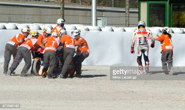 Marc Marquez of Spain and Repsol Honda Team walks out of track after crashed out during the Comunitat Valenciana Grand Prix Moto GP Previews at...