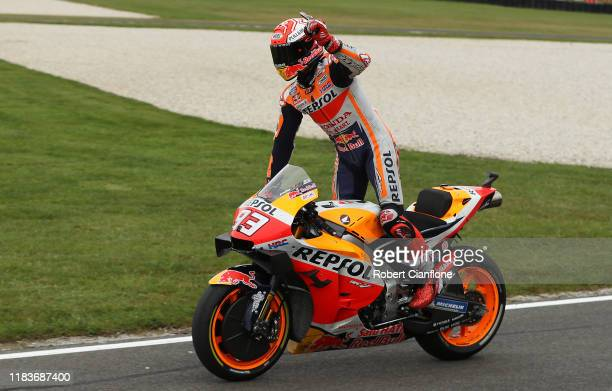 Marc Marquez of Spain and rider of the Repsol Honda Team Honda celebrates after he won the 2019 MotoGP of Australia at Phillip Island Grand Prix...
