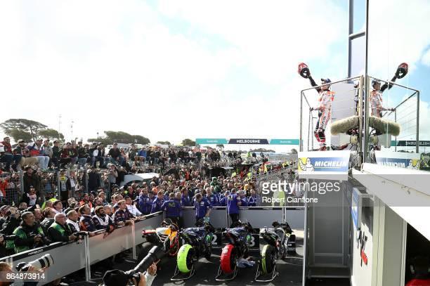 Marc Marquez of Spain and rider of the REPSOL HONDA TEAM Honda celebrates on the podium after winning the 2017 MotoGP of Australia at Phillip Island...