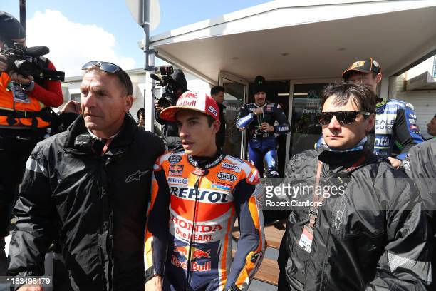 Marc Marquez of Spain and rider of the Repsol Honda Team Honda seen after a meeting with officials and riders to asses track conditions as strong...