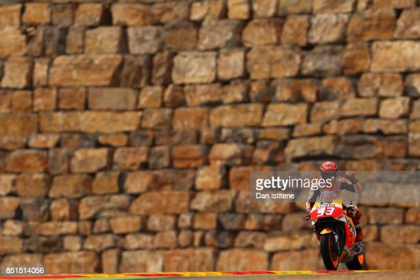 Marc Marquez of Spain and the Repsol Honda Team acknowledges the fans during practice for the MotoGP of Aragon at Motorland Aragon Circuit on...
