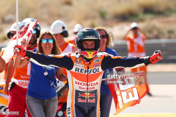 Marc Marquez of Spain and the Repsol Honda Team celebrates victory after the MotoGP of Aragon at Motorland Aragon Circuit on September 24 2017 in...