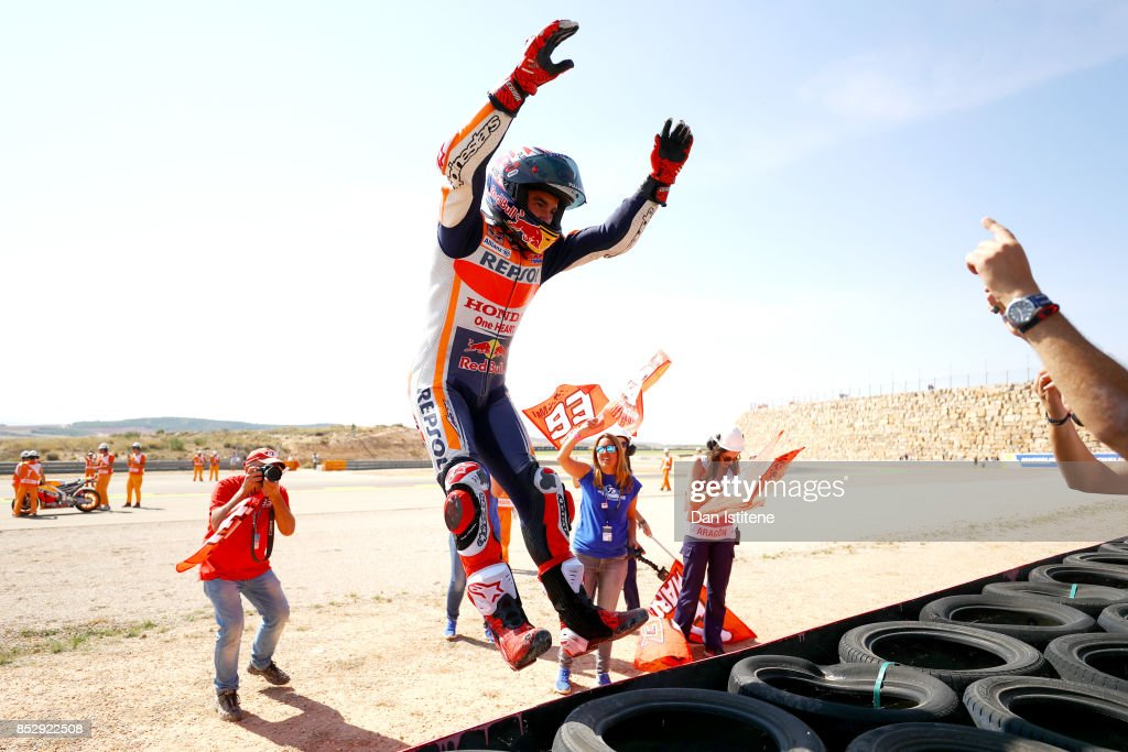 Marc Marquez of Spain and the Repsol Honda Team celebrates victory after the MotoGP of Aragon at Motorland Aragon Circuit on September 24, 2017 in Alcaniz, Spain.