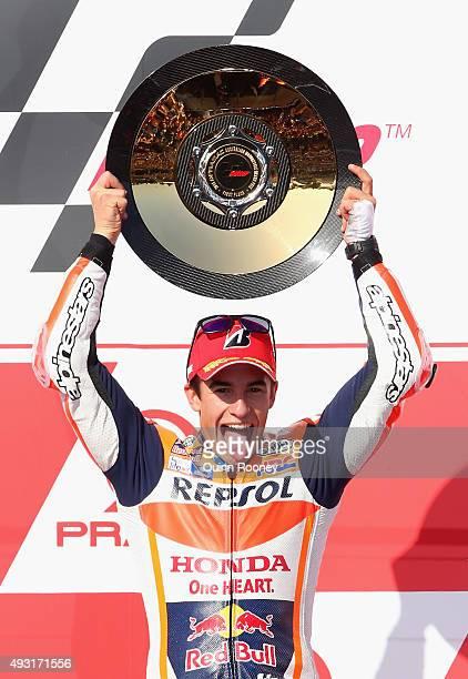 Marc Marquez of Spain and the Repsol Honda team celebrates winning the 2015 MotoGP of Australia at Phillip Island Grand Prix Circuit on October 18...