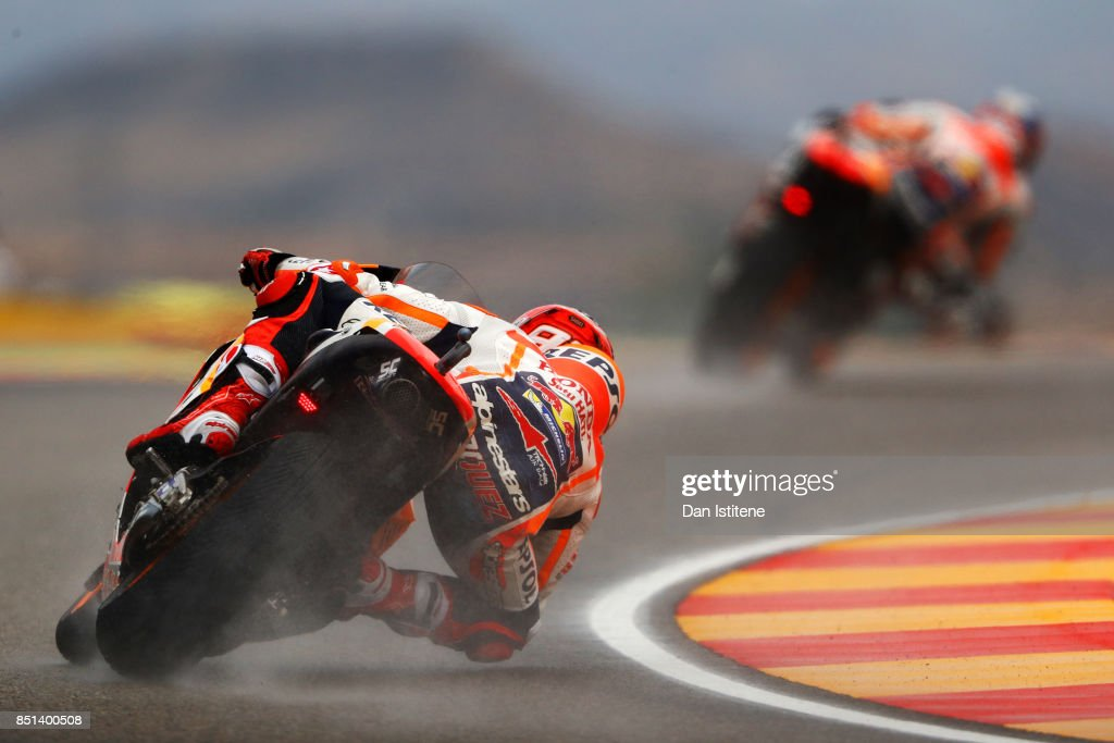 Marc Marquez of Spain and the Repsol Honda Team follows team-mate Dani Pedrosa of Spain and the Repsol Honda Team during practice for the MotoGP of Aragon at Motorland Aragon Circuit on September 22, 2017 in Alcaniz, Spain.