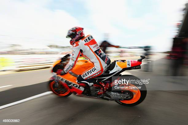 Marc Marquez of Spain and the Repsol Honda team heads out onto the track from pit lane during free practice for the 2015 MotoGP of Australia at...