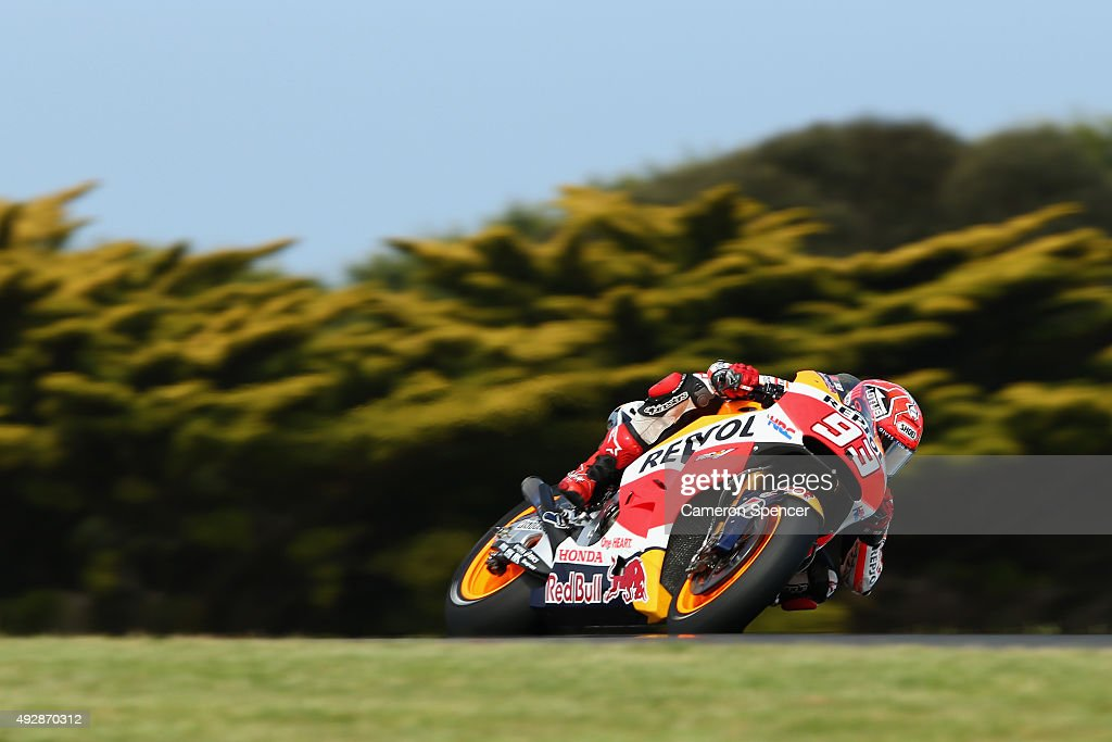 Marc Marquez of Spain and the Repsol Honda team rides during free practice for the 2015 MotoGP of Australia at Phillip Island Grand Prix Circuit on October 16, 2015 in Phillip Island, Australia.