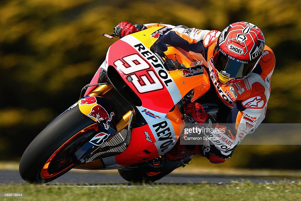 Marc Marquez of Spain and the Repsol Honda team rides during free practice for the 2015 MotoGP of Australia at Phillip Island Grand Prix Circuit on October 17, 2015 in Phillip Island, Australia.