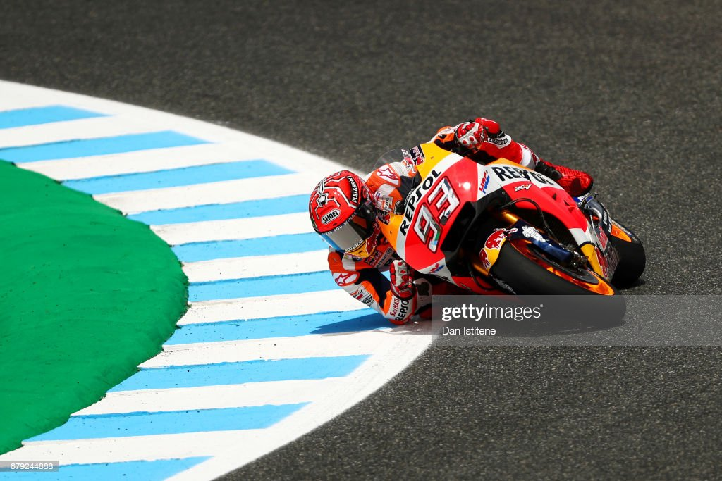 Marc Marquez of Spain and the Repsol Honda Team rides during free practice for the MotoGP of Spain at Circuito de Jerez on May 5, 2017 in Jerez de la Frontera, Spain.