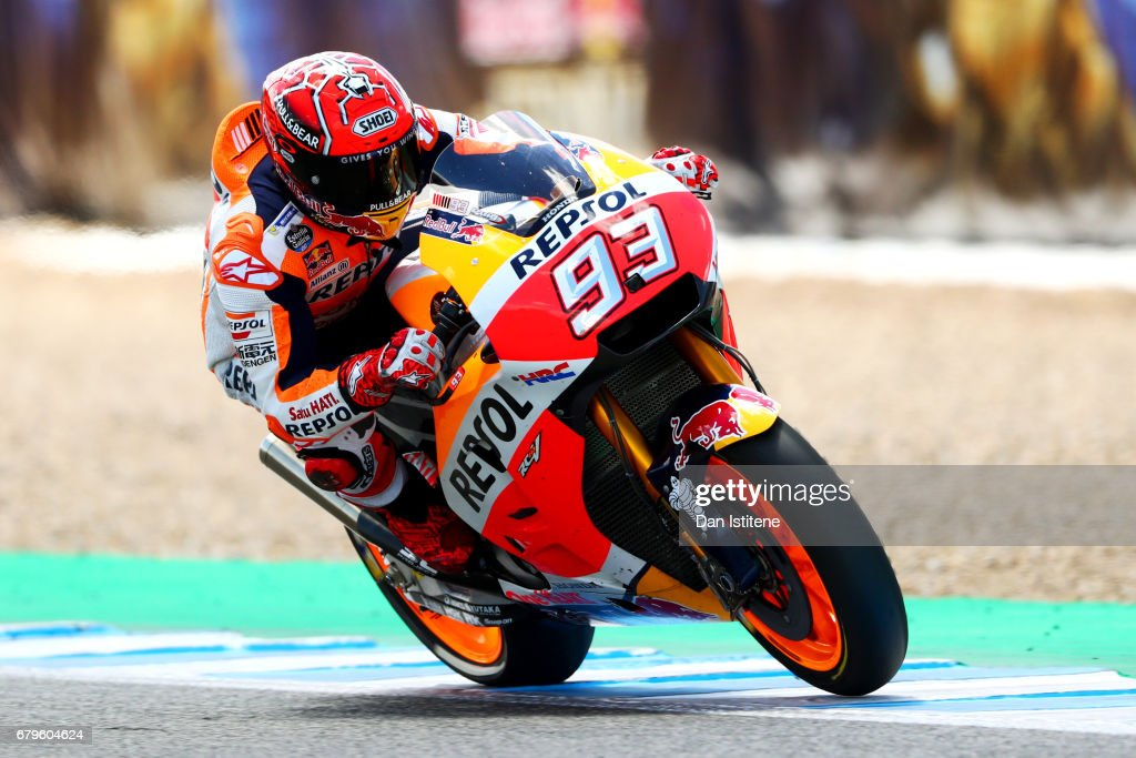 Marc Marquez of Spain and the Repsol Honda Team rides during his final lap in qualifying for the MotoGP of Spain at Circuito de Jerez on May 6, 2017 in Jerez de la Frontera, Spain.