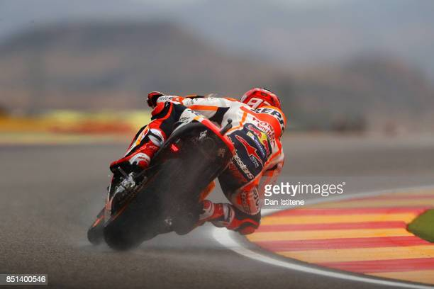 Marc Marquez of Spain and the Repsol Honda Team rides during practice for the MotoGP of Aragon at Motorland Aragon Circuit on September 22 2017 in...