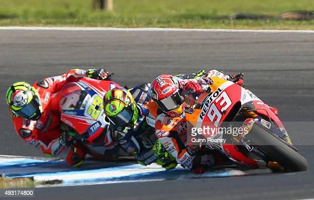 Marc Marquez of Spain and the Repsol Honda team rides during the 2015 MotoGP of Australia at Phillip Island Grand Prix Circuit on October 18 2015 in...